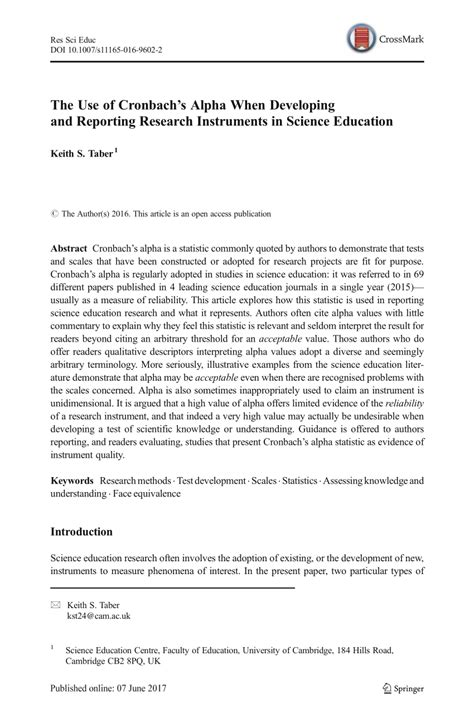 (PDF) The Use of Cronbach's Alpha When Developing and