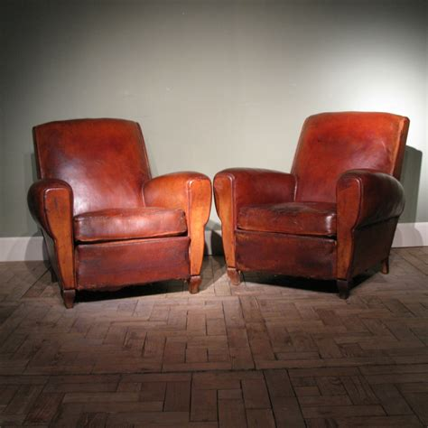 Pair of Antique French Leather Club Chairs - Leather