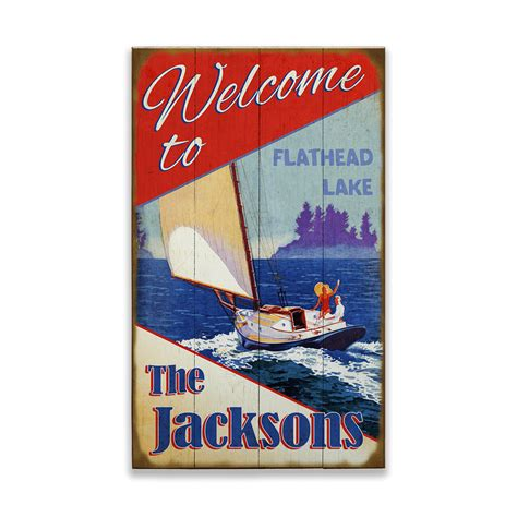 Red White and Blue Sailing Sign - Old Wood Signs