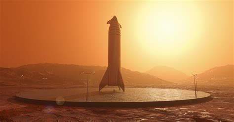 SpaceX Starship on a landing pad on Mars by Charlie