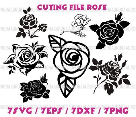 Rose svg rose silhouette rose clipart rose blossom svg | Etsy