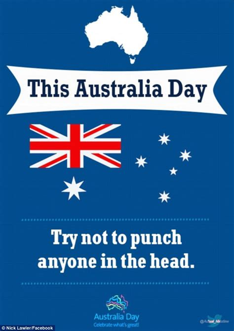 Australia Day 2016 poster asks revellers to 'Try not to