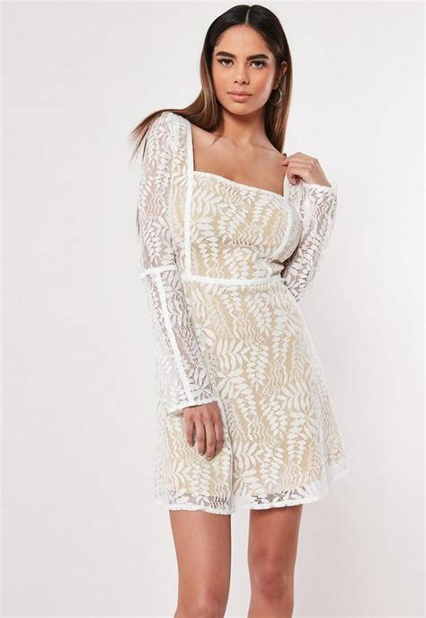 Cream Lace Milkmaid Skater Dress   Missguided